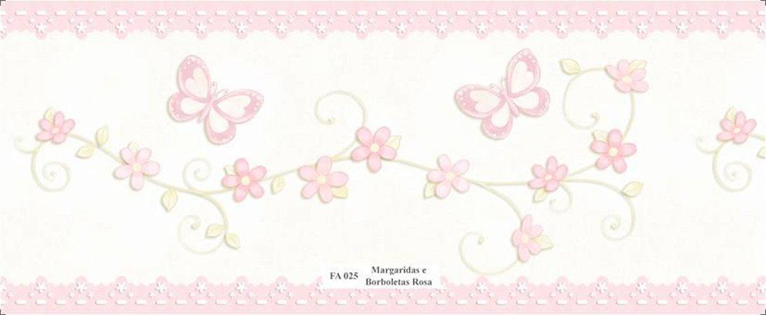 Faixa Borboletas e Flores na cor Rosa