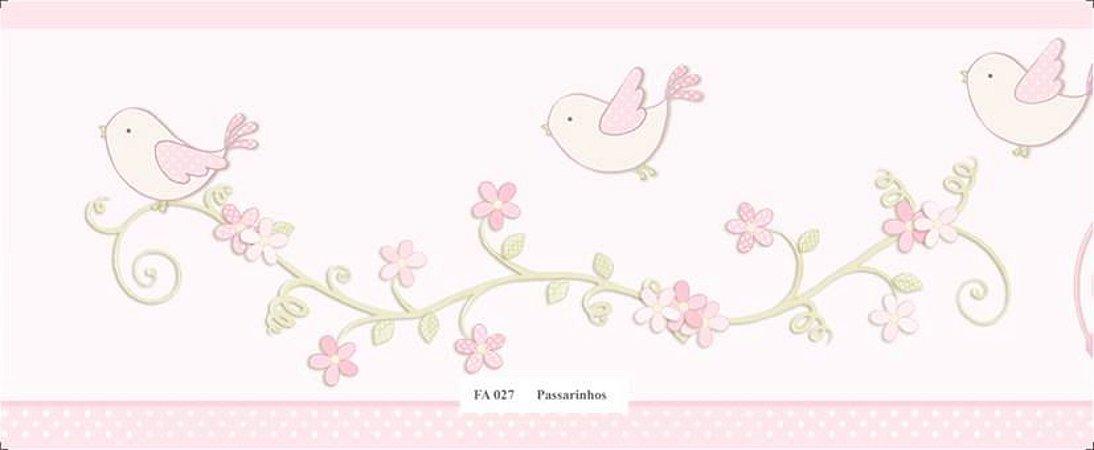 Faixa Flores Pássaros Rosa