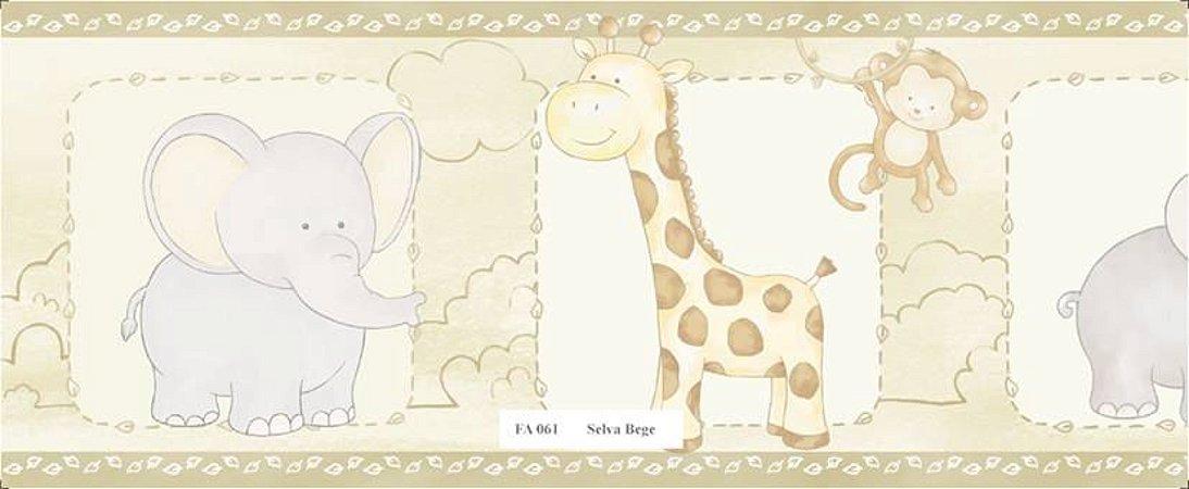 Faixa Animais (Girafa, Macaco, Hipopótamo e Girafa) Bege