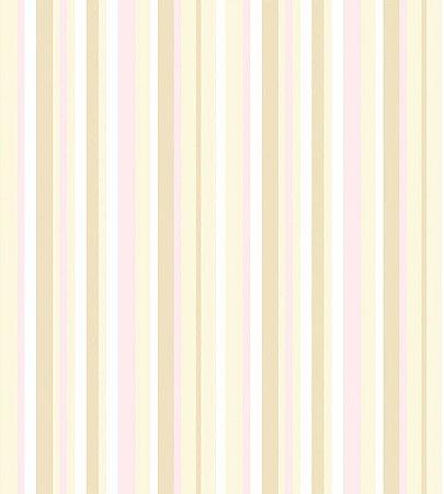 Papel de Parede Listrado Rosa, Branco e Bege