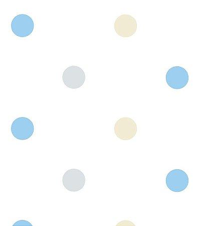 Papel de Parede Bolas Cinza, Azul e Bege