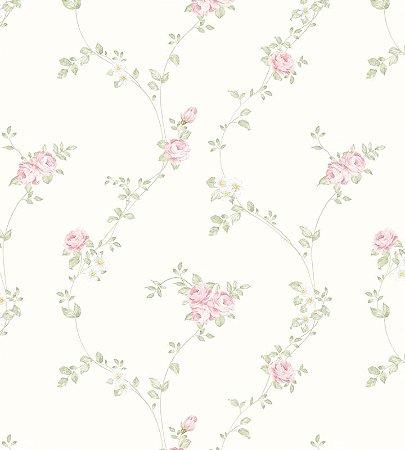 Papel de Parede Flores Rosas com Fundo Bege
