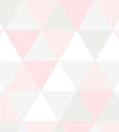 Papel de Parede triangulo Rosa e Cinza