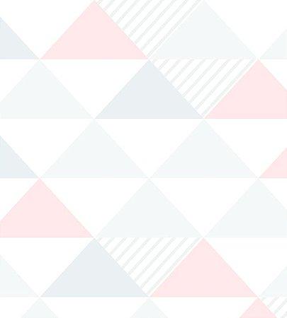 Papel de Parede Triangulo Cinza, Rosa e Branco