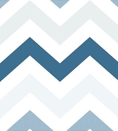 Papel de Parede Chevron tons de azul