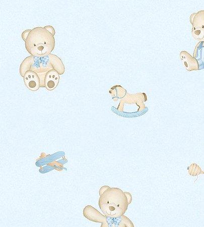 Papel de Parede Urso Brincando Azul