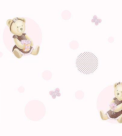 Papel de Parede Ursa Rosa e Marron