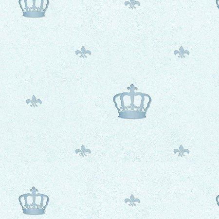 Papel de Parede Coroa Azul Claro