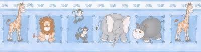 Faixa de Papel Zoo Azul Bobinex Bambinos 8503