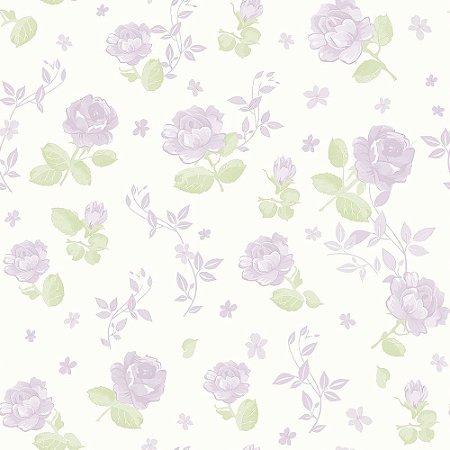 Papel Floral Lilás Grande Bobinex Bambinos 3364