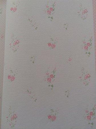 Papel de Parede Floral Branco e Rosa Bobinex Bambinos 3350