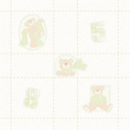 Papel de Parede Ursos Verde e Bege Bobinex Bambinos 3330