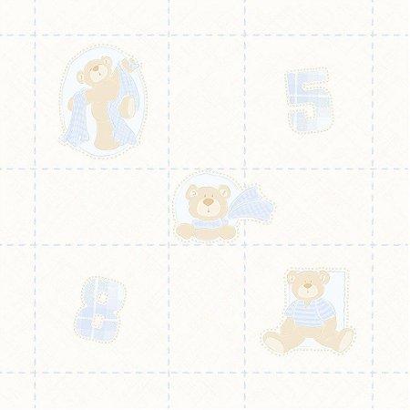 Papel de Parede Ursos Azul e Bege Bobinex Bambinos 3326