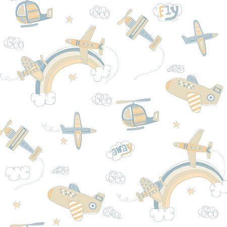 Papel de Parede Aviao Bege Bobinex Bambinos 3310