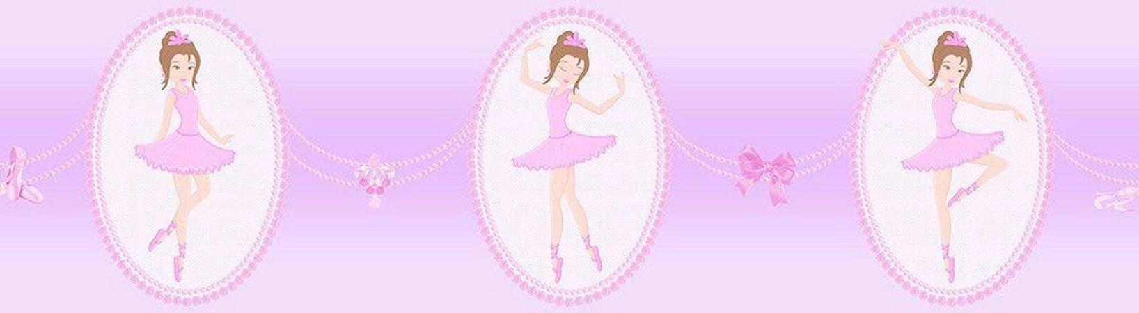 Faixa de Parede Bailarina Rosa e Lilás Bobinex Bambinos 3214