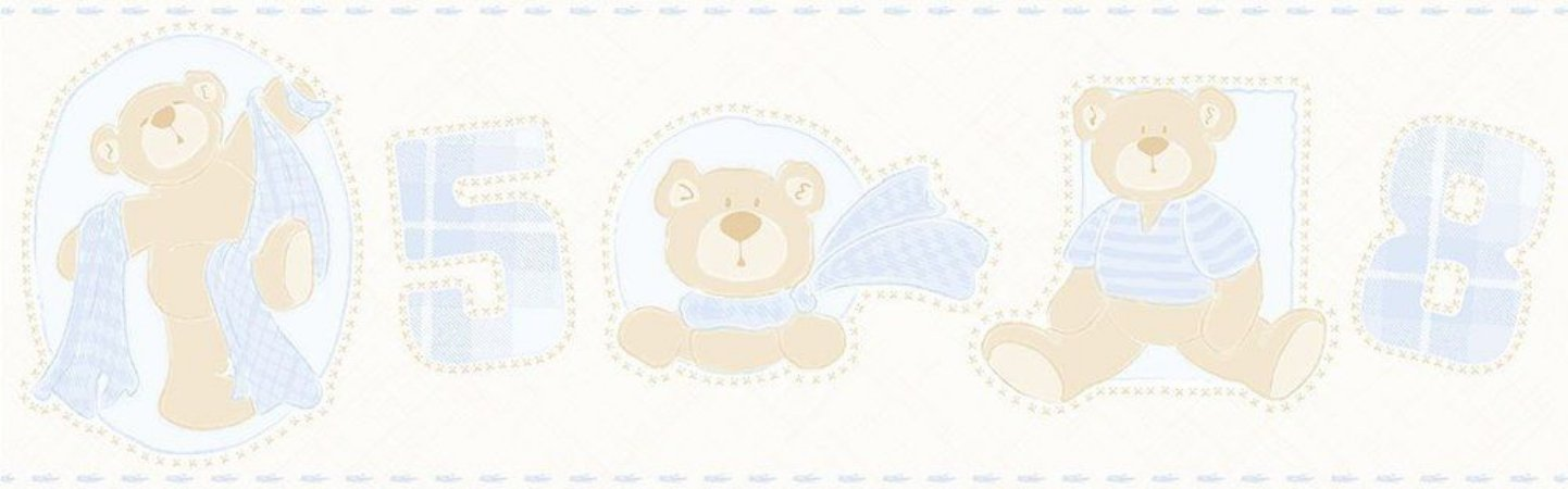 Faixa de Parede Ursos Azul Claro Bobinex Bambinos 3208