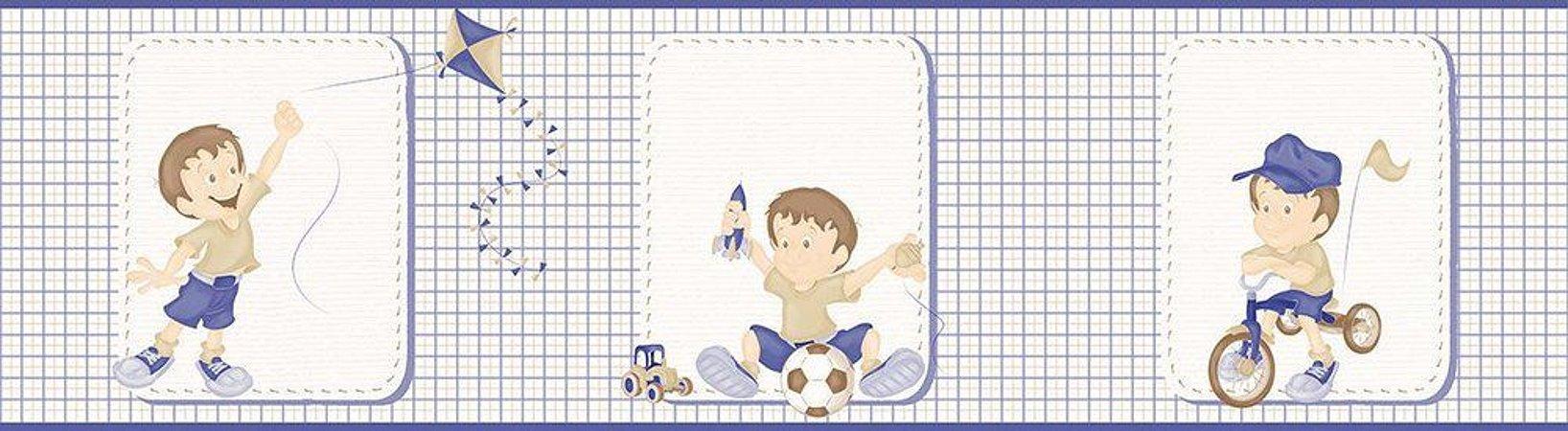 Faixa de Parede Menino Xadrez Azul e Bege Bobinex Bambinos 3203