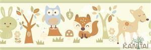 Faixa Infantil Animais Coloridos Vinílico Lavável - Verde BB221003B