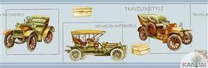 Faixa Infantil Vinílico Lavável Carro antigo - Azul BB220004B