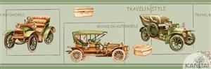 Faixa Infantil Vinílico Lavável Carro antigo Verde BB220005B