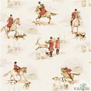 Papel de Parede Infantil Cavalo Vinílico Lavável Bege BB220103