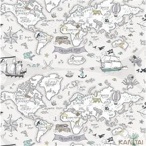 Papel de Parede Infantil Mapa Pirata Vinílico Lavável - Várias Cores
