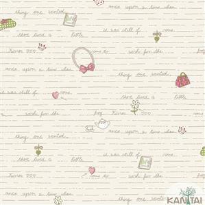 Papel de Parede Infantil Laços, Palavras e Letras Vinílico Lavável BB221301