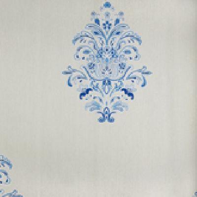 Papel de Parede Vinílico Lavável Arabesco Acinzentado, Branco, Tons de Azul