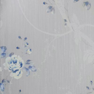 Papel de Parede Vinílico Lavável Floral Azul, Cinza