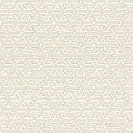 Papel de Parede Geometrico Boolmerang Branco, Bege Claro e Gelo Bobinex Diplomata 3108 Vinílico Lavável