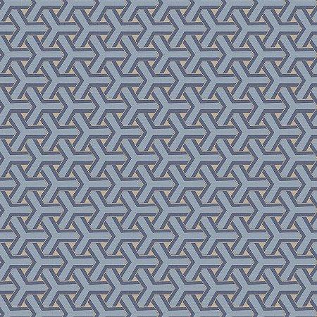 Papel de Parede Geometrico Boolmerang Azuis Médio e Bege Bobinex Diplomata 3148 Vinílico Lavável