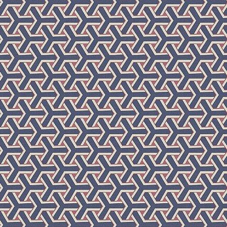 Papel de Parede Geometrico Boolmerang Azul Marinho, Vinho e Bege Bobinex Diplomata 3154 Vinílico Lavável