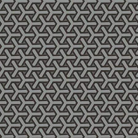 Papel de Parede Geometrico Boolmerang Cinza e Preto Bobinex Diplomata 3124 Vinílico Lavável