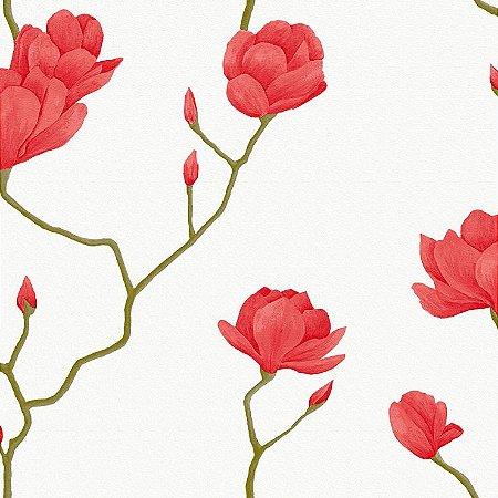 Papel de Parede Cerejeira Vermelha Com Branco Bobinex Natural 1449 Vinílico Lavável