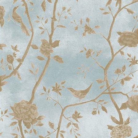 Papel de Parede Floral Azul Com Passaros Bobinex Natural 1445 Vinílico Lavável