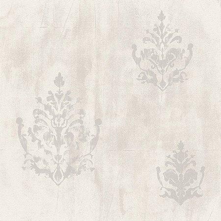 Papel de Parede Cimento Queimado Claro Com Arabesco Bobinex Natural 1427 Vinílico Lavável