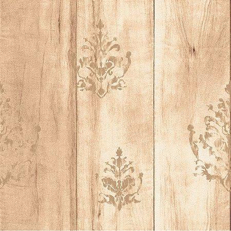 Papel de Parede Madeira Bege Com Arabesco Bobinex Natural 1425 Vinílico Lavável