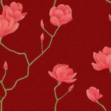 Papel de Parede Cerejeira Vermelha Com Vermelho Bobinex Natural 1450 Vinílico Lavável