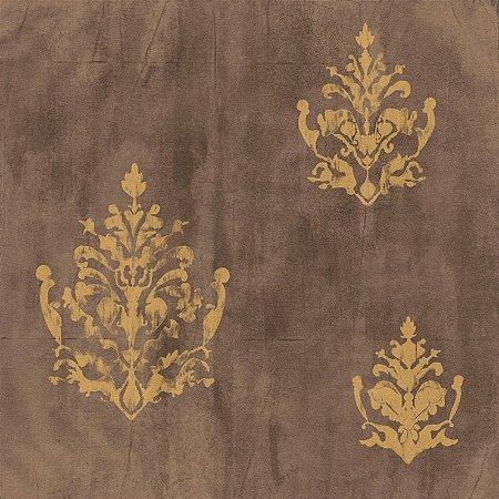 Papel de Parede Cimento Queimado Marrom Com Arabesco Bobinex Natural 1430 Vinílico Lavável