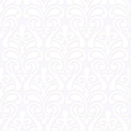 Papel de Parede Arabesco Sapo Branco Bobinex Relevos 3408