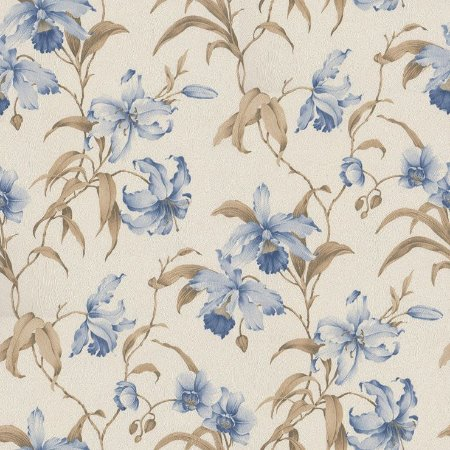 Papel de Parede Floral - Azul e Marrom Bobinex Harmonia 9114 Vinílico Lavável