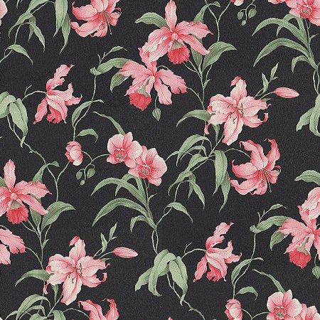 Papel de Parede Floral Fundo Preto - Rosa e Verde Bobinex Harmonia 9117 Vinílico Lavável