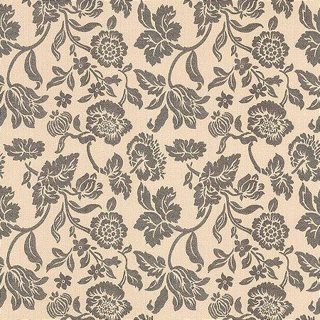 Papel de Parede Floral Bege e Cinza Bobinex Harmonia 9131 Vinílico Lavável