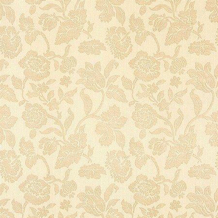 Papel de Parede Floral Bege e Areia Bobinex Harmonia 9132 Vinílico Lavável