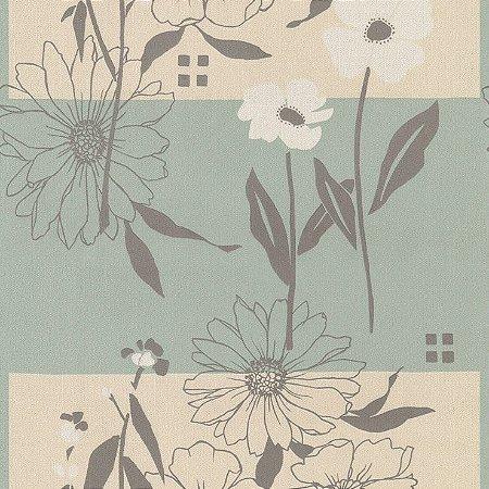 Papel de Parede Floral Cinza, Bege e Verde Bobinex Harmonia 9148 Vinílico Lavável