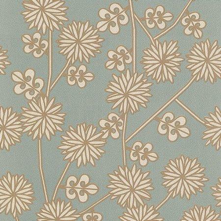 Papel de Parede Floral Azul e Dourados Bobinex Harmonia 9152 Vinílico Lavável