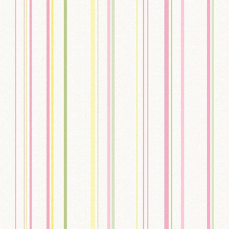 Papel de Parede Infantário Listras Rosa, Verde e Amarela Bobinex Infantário 1758