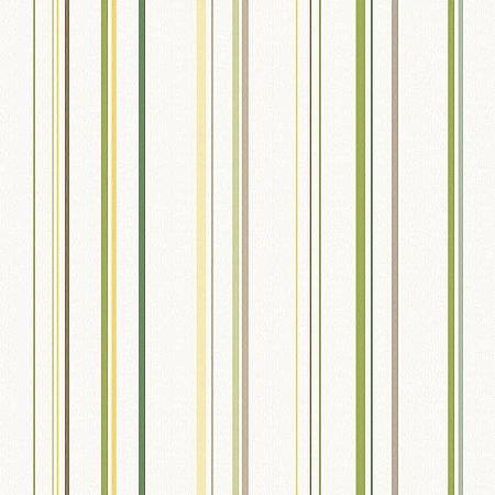 Papel de Parede Infantário Listras Verde, Mostarda, Marrom Bobinex Infantário 1755