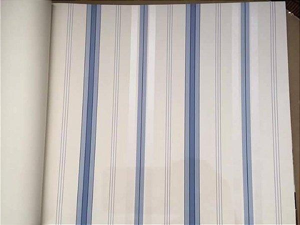 Papel de Parede Vinílico - Listras (Tons de Azul/ Cor Crú/ Detalhes com Leve Brilho Perolado)  BCSS-889092