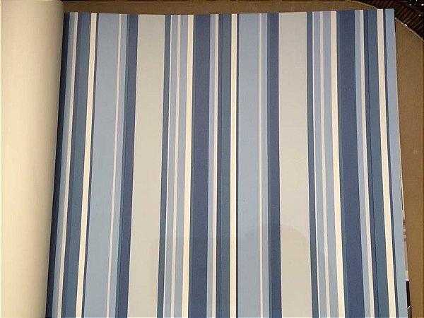 Papel de Parede Vinílico - Listras (Tons de Azul) EC-BCSS-889024